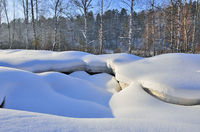 Soft bizarre curves of snow surface near the winter forest