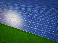 Solar panels on  grass