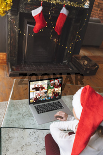 Caucasian woman at christmas on a video call
