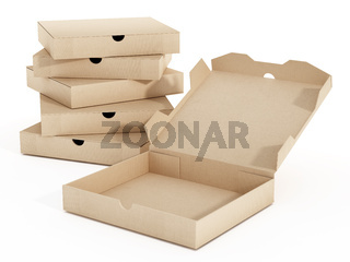 Isolated pizza boxes