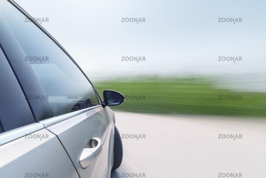 speeding car with motion blur