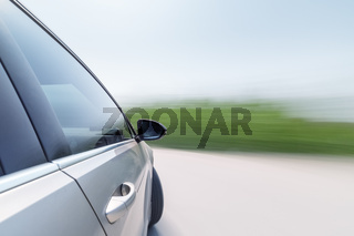speeding car with motion blur