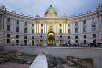 Illuminated Hofburg castle, Vienna, Austria, Europe