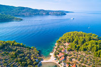 Korcula island. Bay entrance of Vela Luka aerial view
