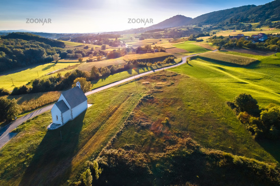 Kalnik mountain sunset aerial view, Kamesnica village