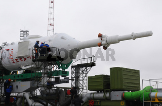 Technicians on Soyuz Spacecraft