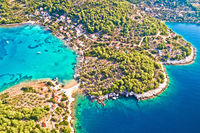 Korcula island. Aerial view of Gradina bay sailing cove on island Korcula