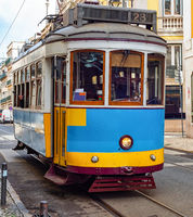 Vintage tramway oldtown Lisbon Portugal