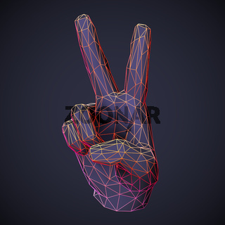 3D low poly human hand showing victory or freedom gesture on dark background.