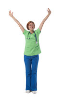 Healthcare worker with raised arms