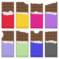 Bitten Milk Brown Chocolate Bar Pattern. Sweet Food Set