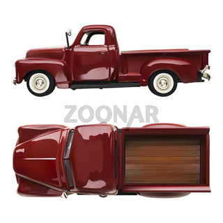 old vintage classic pickup red truck vector realistic illustration on white isolated background. side and top view