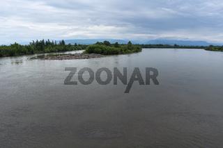 Summer view of Kamchatka River - biggest mountain river on Kamchatka Peninsula