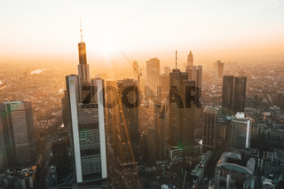 Incredible View of Frankfurt am Main, Germany Skyline in on Hazy Winter morning in Beautiful Sunrise Light September 2019