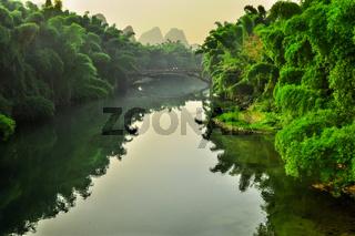 Landscape of Li River in Winter, Guilin, China - The Li River or Lijiang is a river in Guangxi Zhuang