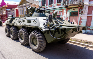 Russian Army BTR-82A wheeled armoured vehicle personnel carrier at the city street
