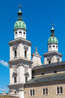 Towers of the cathedral in Salzburg, Austria