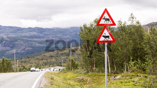 Traffic sign with reindeer and moose