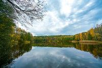 Papensee lake in Liebenberg, Brandenburg on a bright autumn day