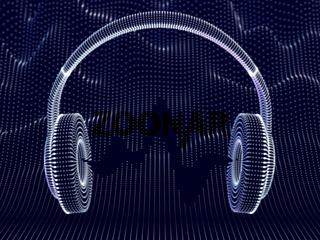 3D headphones with sound waves on dark background.