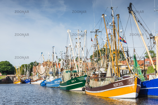 Fishing boats in the harbor of Greetsiel, East Frisia, Lower Saxony, Germany