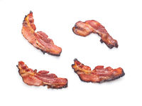 Fried bacon. Sliced roasted bacon.