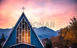 chapel in bishop california autumn season