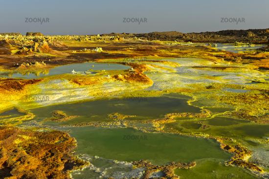 Acid brine pool with sulphuric sediments, geothermal field of Dallol, Ethiopia