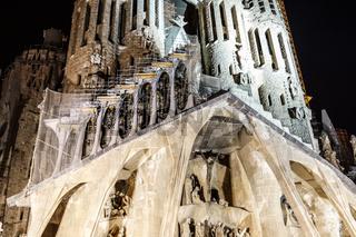 Sagrada Familia of night view (Barcelona, Spain)