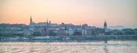 Panoramic view of historical bank of Danube river in Budapest, Hungary.