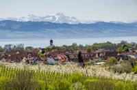 Kressbron on Lake Constance with view of mount Saentis, Baden-Wuerttemberg, Germany