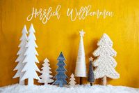 Christmas Trees, Snow, Yellow Background, Willkommen Means Welcome