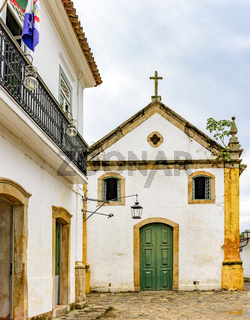 Famous church facade in the ancient and historic city of Paraty