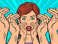 Pop art woman screams