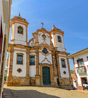 Facade of preserved historic 18th century church in colonial architecture