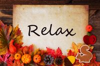 Old Paper With Autumn Decoration, Text Relax