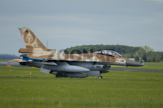 Nörvenich Germany Aug. 20 2020: Israeli Air Force F-16 Barak visit Nörvenich Air Base for exercises and memorial flight.