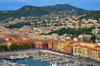 View of Old Port of Nice with yachts, France