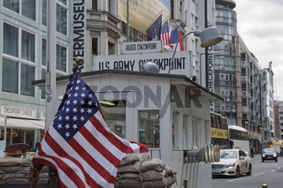 Checkpoint Charlie in Berlin, Germany. It was the former border crossing between the West and East Berlin during the Cold War