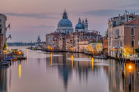 The Grand Canal and the Basilica Di Santa Maria Della Salute in Venice early in the morning
