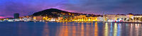 Split waterfront and Marjan hill colorful dusk panoramic view