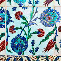 Gazed ceramic tiles with floral pattern