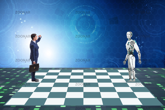 Concept of rivalry between robots and humans