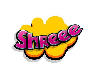 Comic text shree, shh logo sound effects