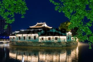 traditional ancient buildings in jiujiang at night