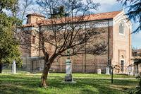 padua, italy - mar 19, 2019 - scrovegni chapel and dante monument