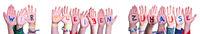 Children Hands, Wir Bleiben Zuhause Means We Stay Home, Isolated Background