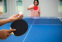 Woman playing table tennis stay at home
