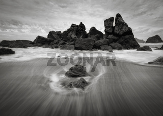 Sunset at a Rocky Beach, Northern California Coast, Black and White