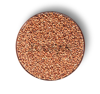 Buckwheat in a bowl from above